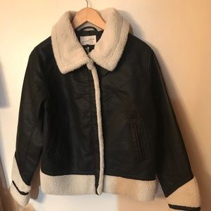 Faux leather coat with faux fur